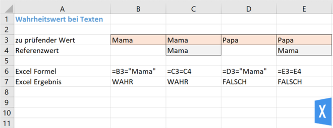 Excel Insights - Excel Bedingungen: Wahrheitstest bei Texten